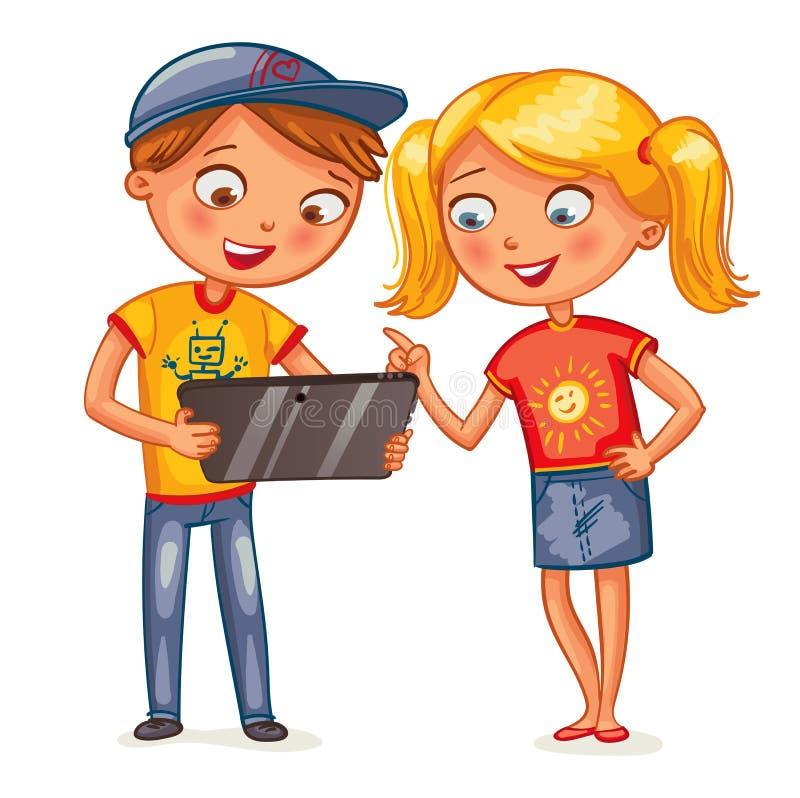 Crianças que olham o computador do PC da tabuleta ilustração royalty free