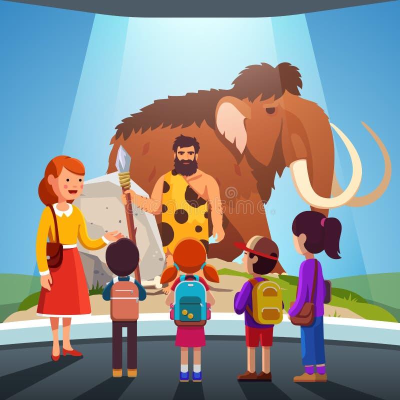 Crianças que olham o mammoth grande e homem das cavernas no museu ilustração do vetor