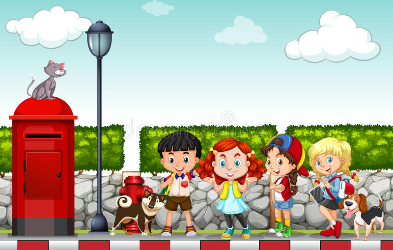 Crianças que penduram para fora na caminhada lateral ilustração do vetor