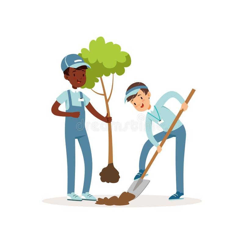 Crianças que plantam a árvore Meninos nos macacões e nos tampões Uma criança que guarda a plântula em sua mão, o outro poço de es ilustração royalty free