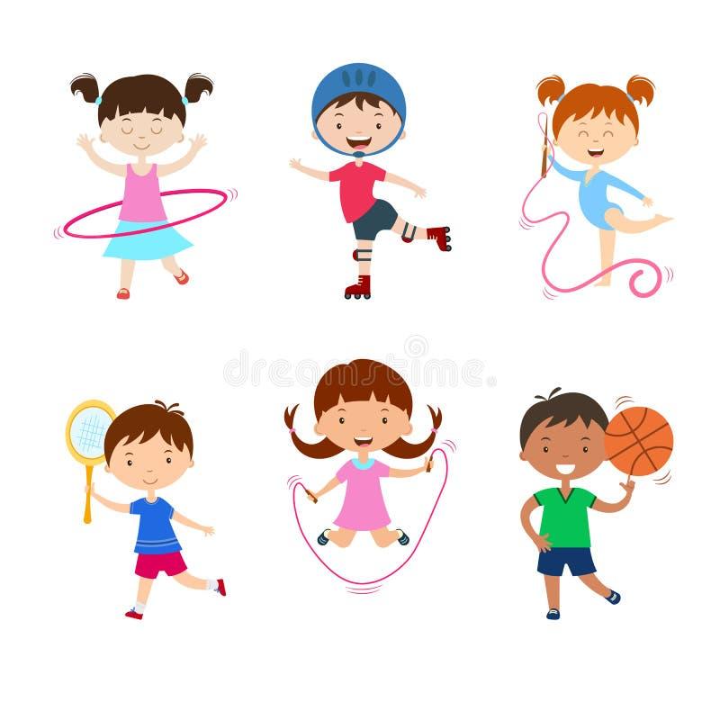 Crianças que praticam esportes diferentes Atividades físicas das crianças fora ilustração royalty free