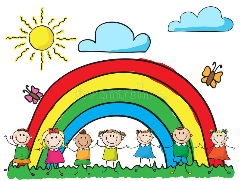 Crianças que prendem as mãos ilustração stock