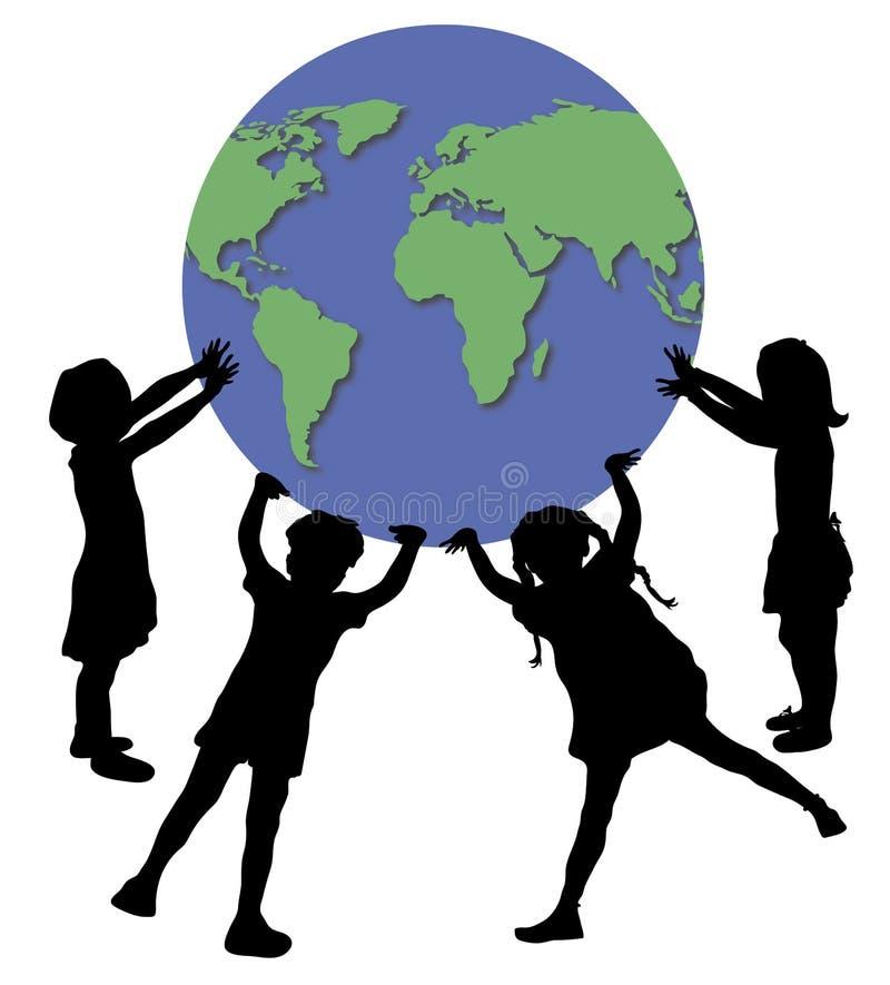 Crianças que prendem o mundo ilustração royalty free