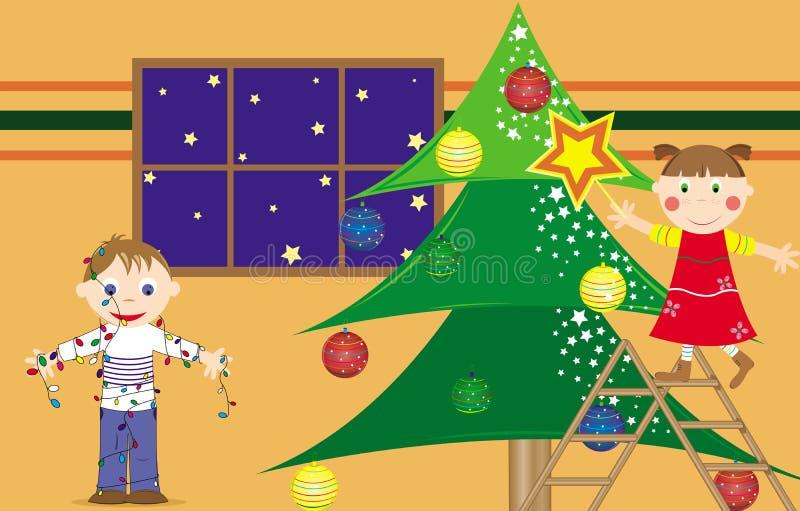 Crianças que preparam a árvore de Natal