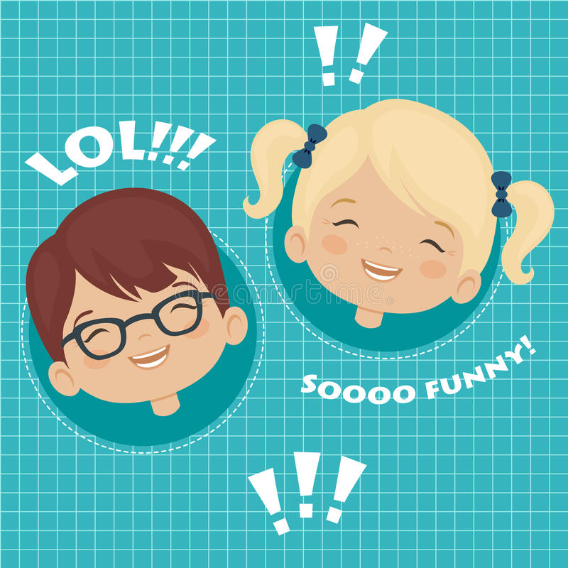 Crianças que riem a expressão facial ilustração do vetor