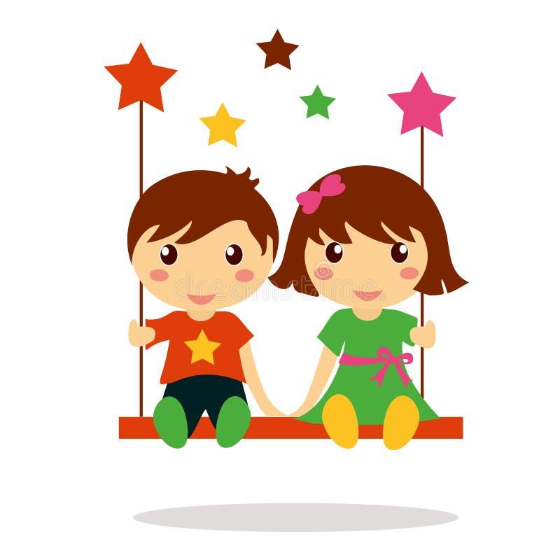Crianças que sentam-se junto no balanço ilustração royalty free