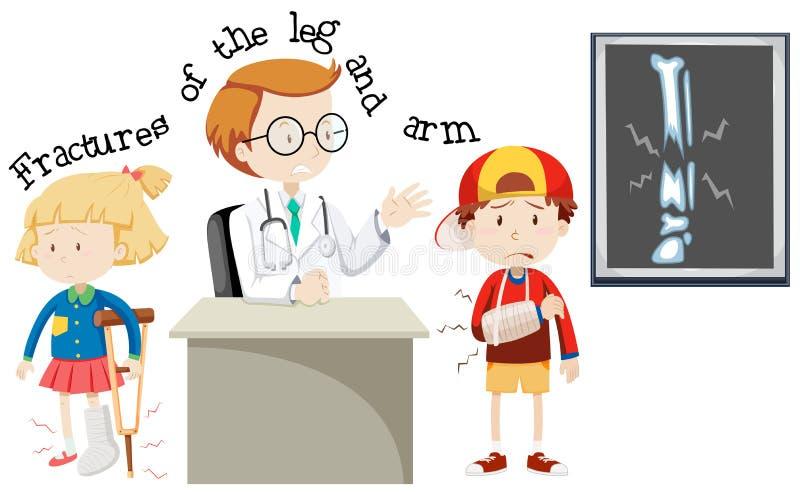 Crianças que têm fraturas pé e braço ilustração stock