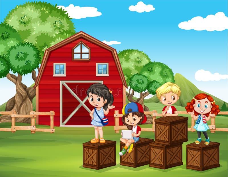 Crianças que têm o divertimento no celeiro ilustração royalty free