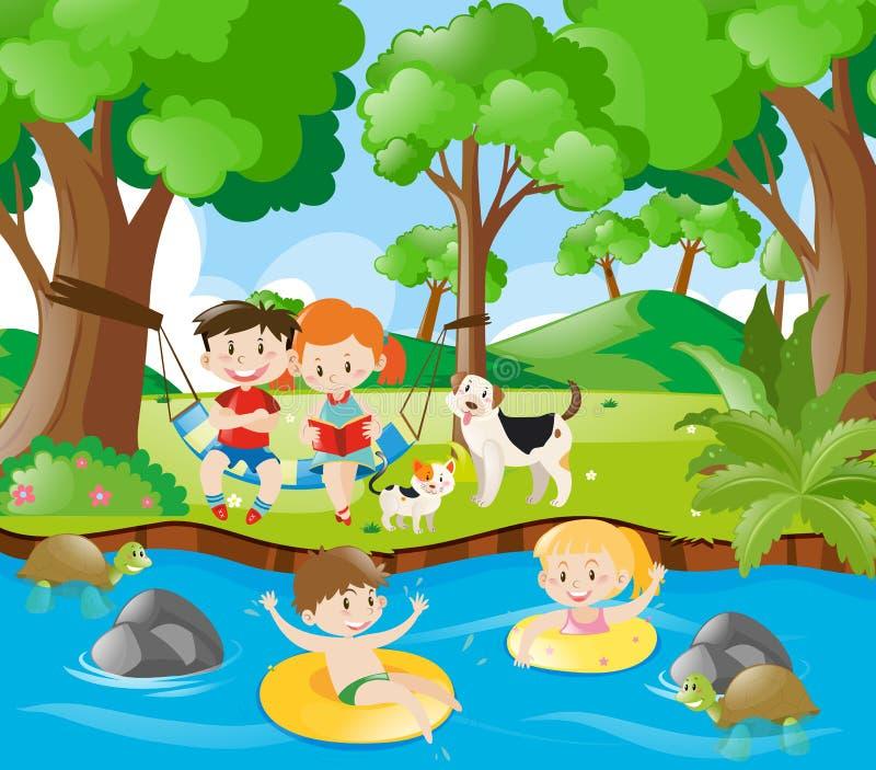Crianças que têm o divertimento no rio ilustração do vetor