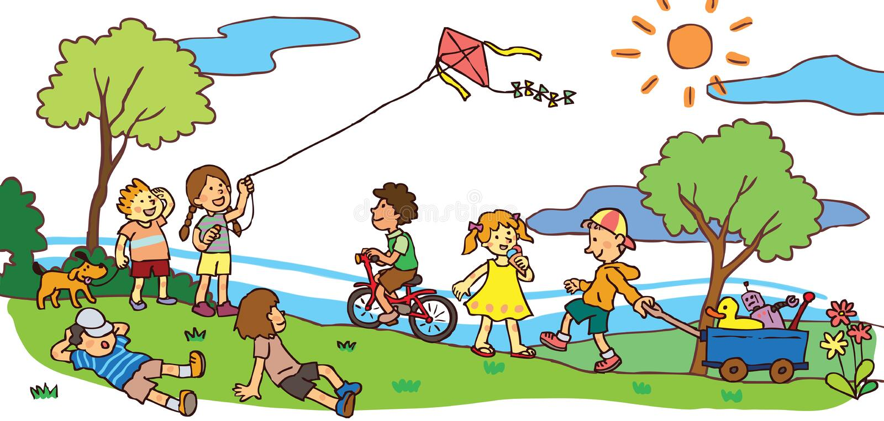 Crianças que têm uma boa estadia na paisagem do verão (v ilustração stock