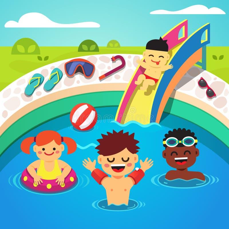 Crianças que têm uma festa na piscina Natação feliz ilustração do vetor