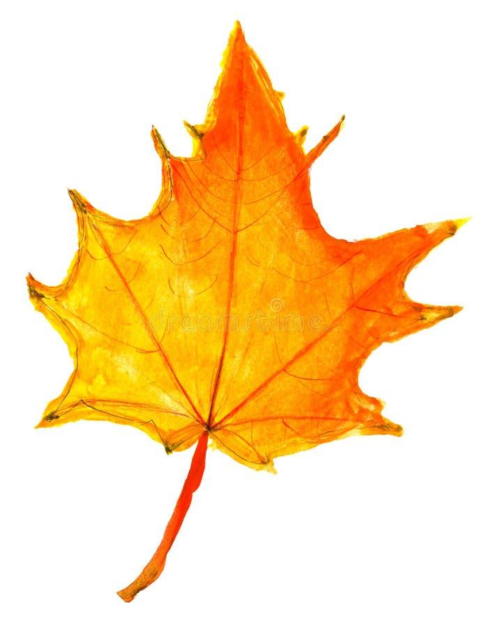 Crianças que tiram - folha de bordo amarela do outono imagem de stock