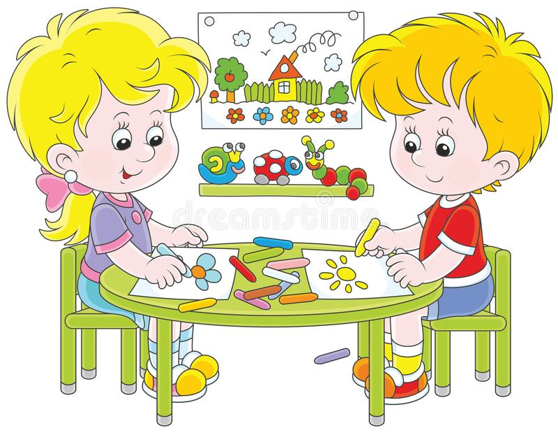 Crianças que tiram imagens engraçadas ilustração stock