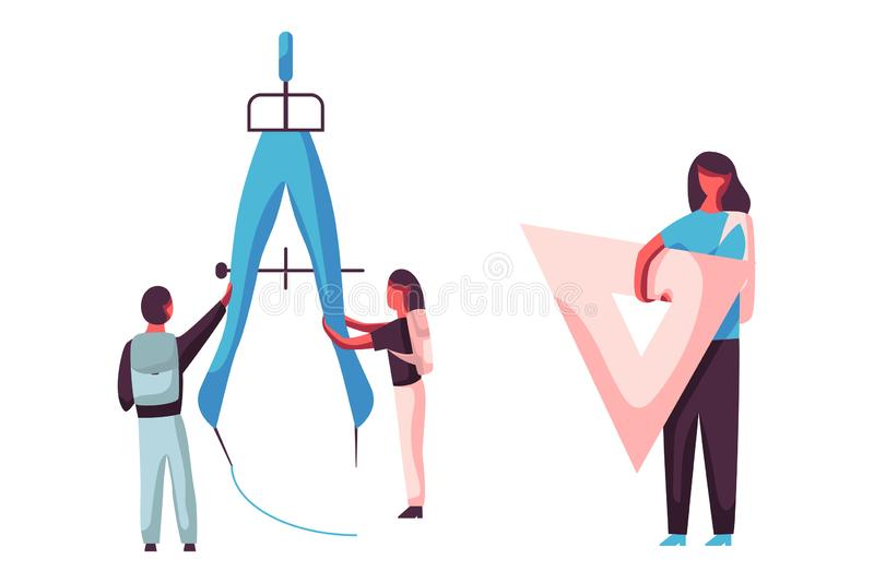 Crianças que tiram o círculo com compasso gigante da escola Menina que guarda a régua triangular De volta ao grupo do conceito da ilustração royalty free