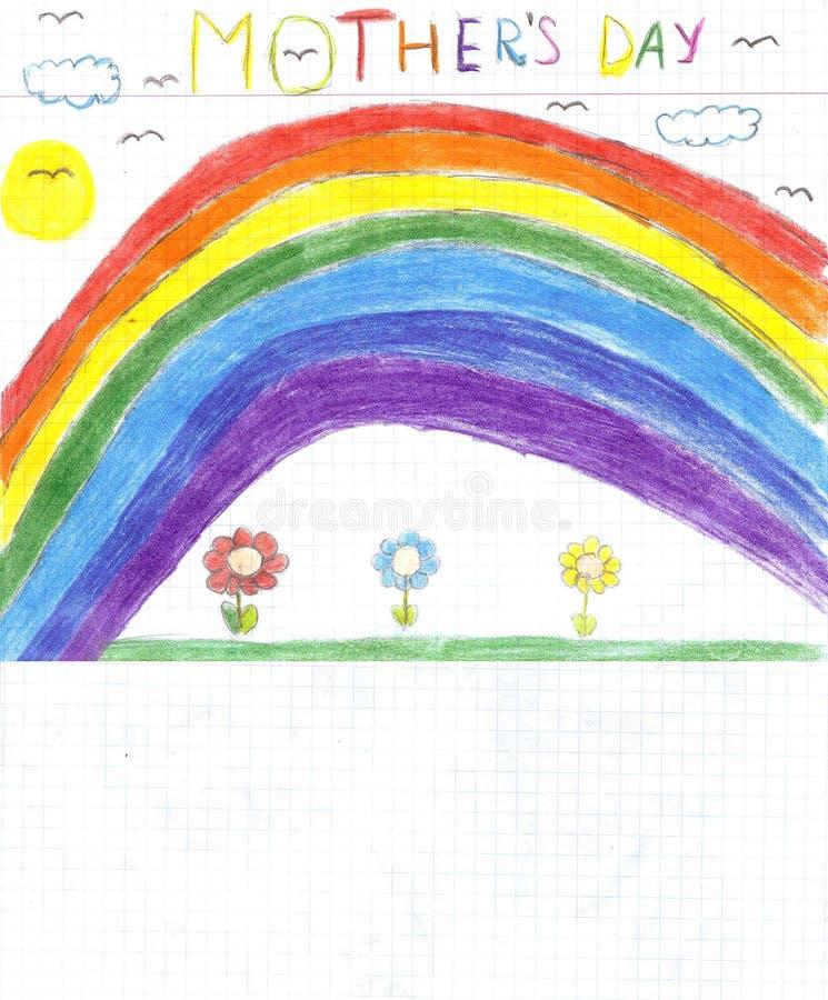 Crianças que tiram o dia de mães ilustração royalty free