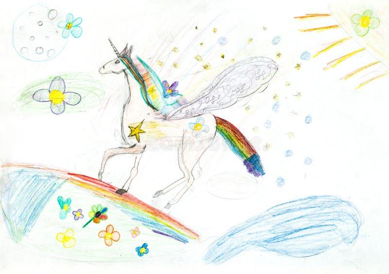 Crianças que tiram - unicórnio do conto de fadas ilustração royalty free