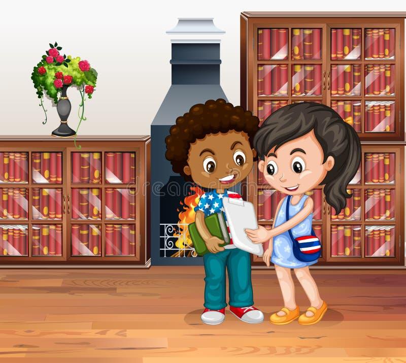 Crianças que trabalham na biblioteca ilustração do vetor