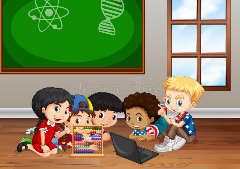 Crianças que trabalham na sala de aula ilustração do vetor