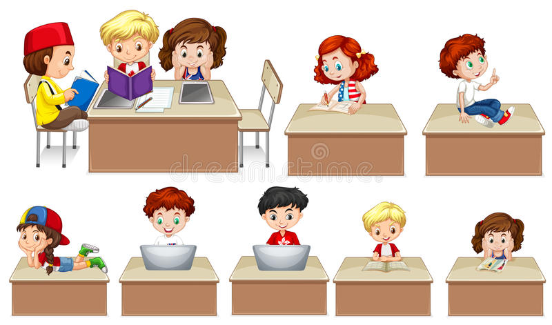 Crianças que trabalham na tabela ilustração stock