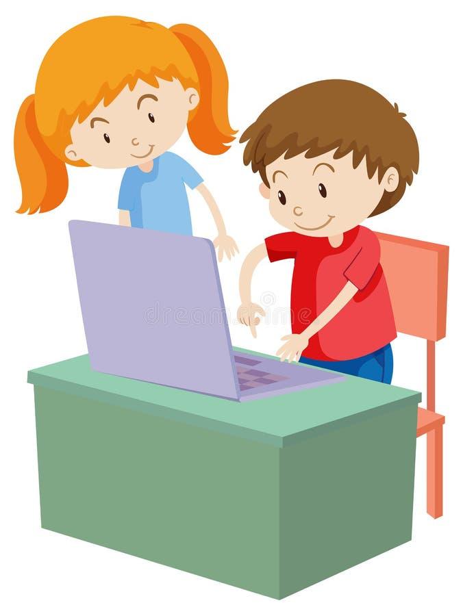 Crianças que trabalham no computador ilustração do vetor