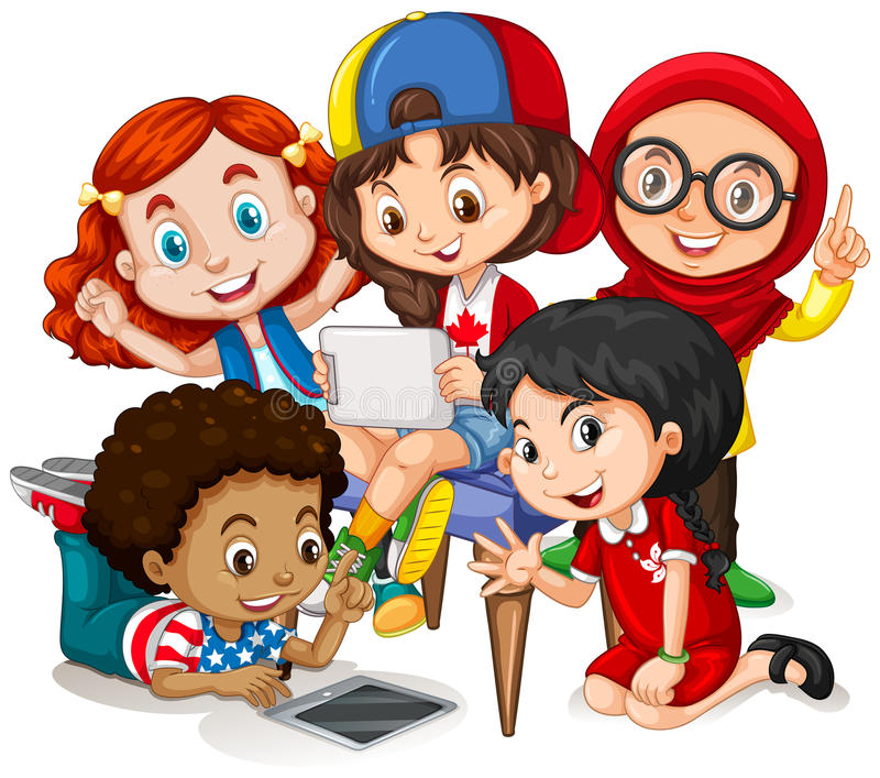 Crianças que trabalham no grupo ilustração royalty free