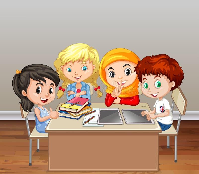 Crianças que trabalham no grupo na sala de aula ilustração do vetor