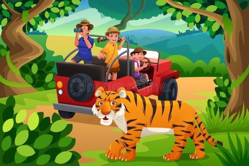 Crianças que vão ao safari de selva ilustração stock