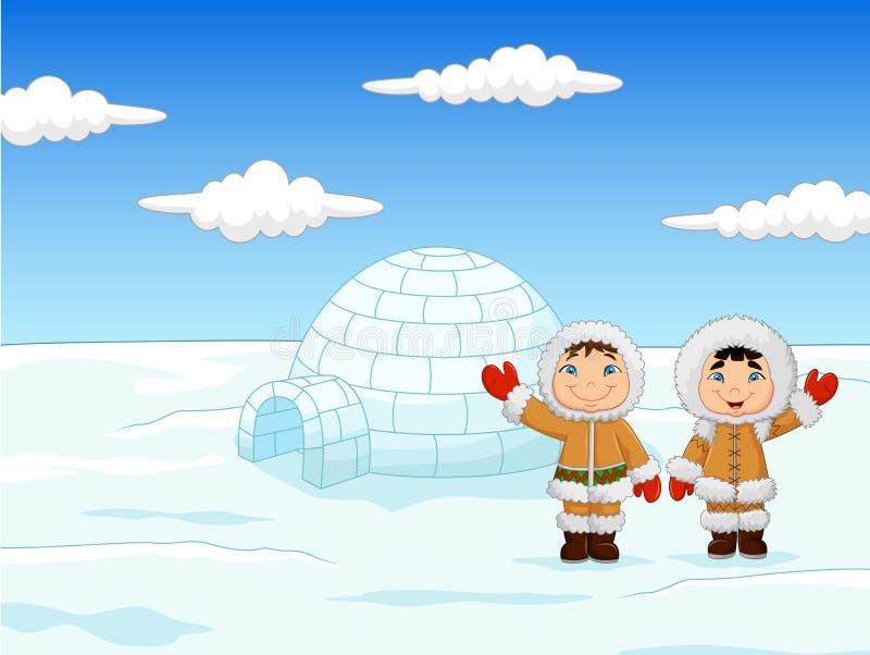 Crianças que vestem o traje Eskimo tradicional com casa do iglu ilustração do vetor