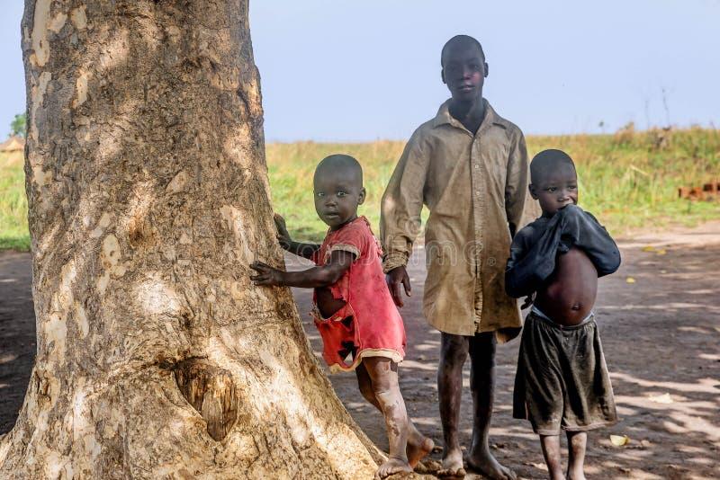 Crianças que vivem na vila perto da cidade de Mbale em Uganda, África fotos de stock royalty free