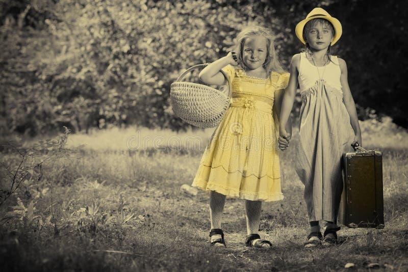 Crianças retros fotografia de stock