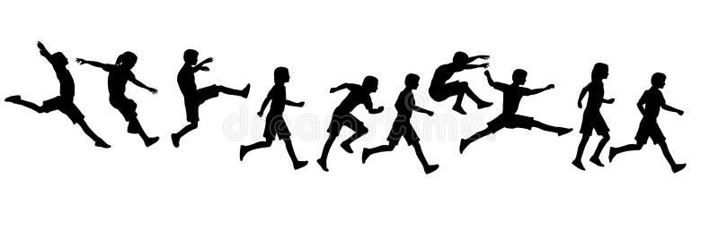 Crianças running de salto ilustração stock