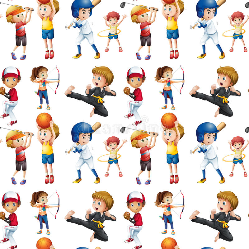 Crianças sem emenda e esportes ilustração do vetor