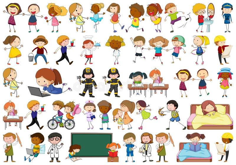 Crianças simples ativas que fazem várias atividades ilustração do vetor