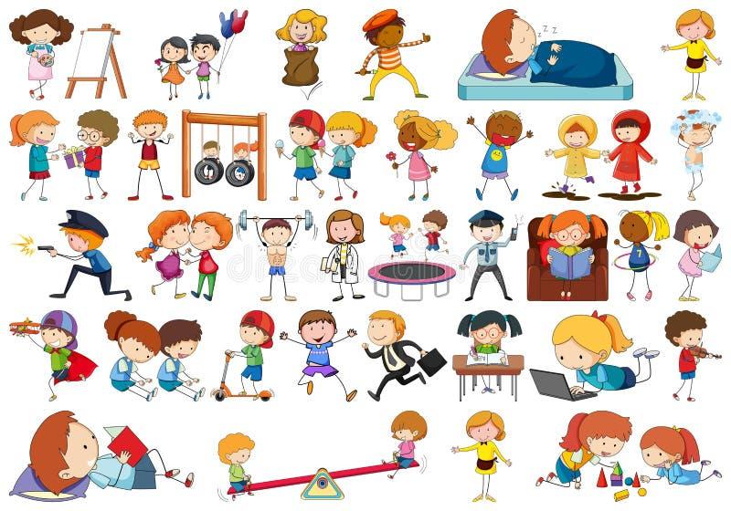 Crianças simples do estilo da garatuja em um grupo ilustração do vetor