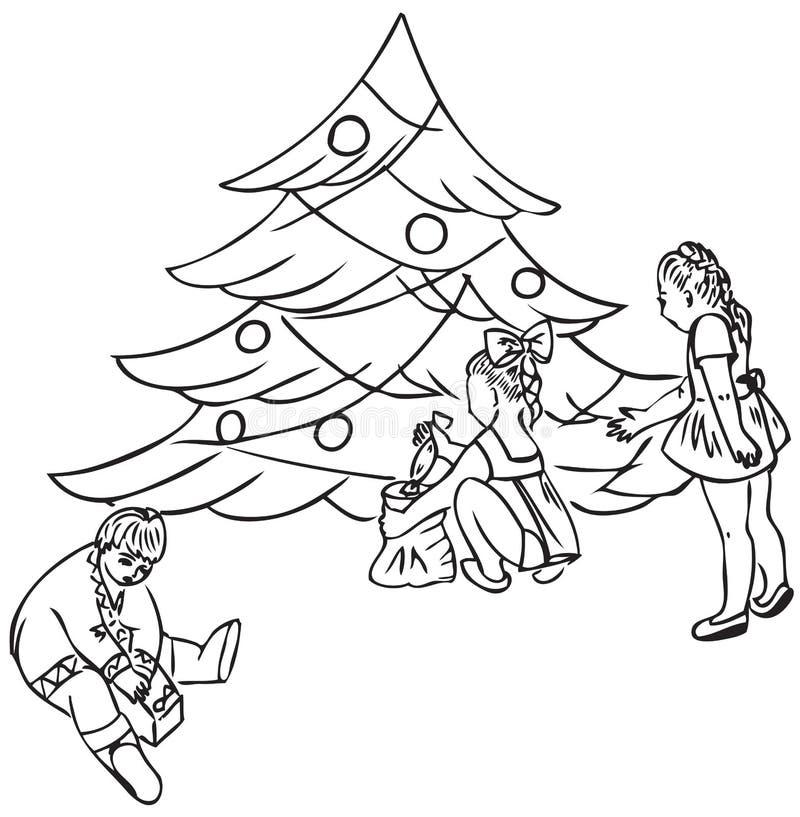Crianças sob a árvore de Natal ilustração royalty free