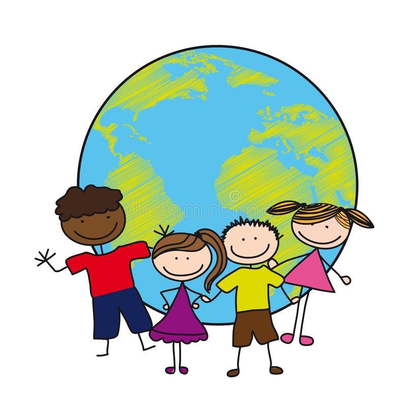 Crianças sobre o planeta ilustração do vetor