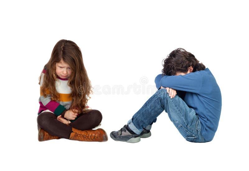 Crianças tristes fotos de stock royalty free