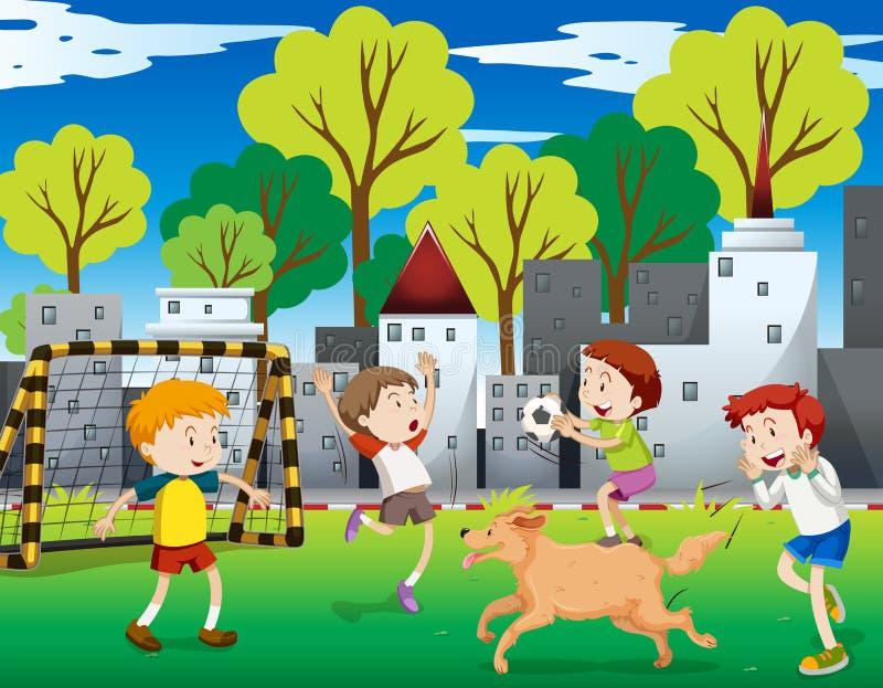 Crianças urbanas que jogam o futebol ilustração do vetor