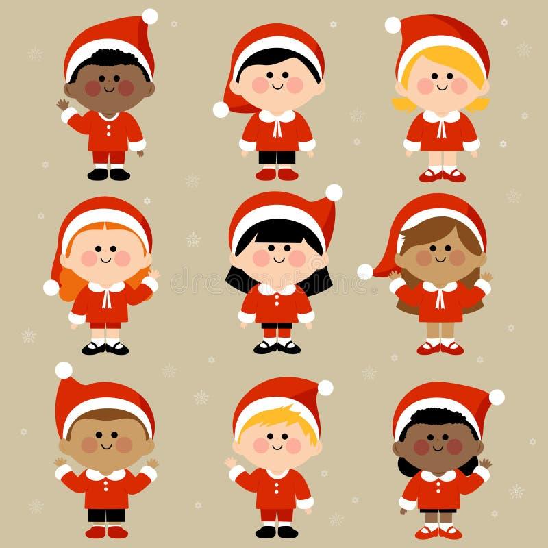 Crianças vestidas em trajes do Natal ilustração stock