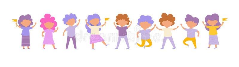 Crianças Vetor ajustado da escala cartoon Arte isolada no fundo branco ilustração stock