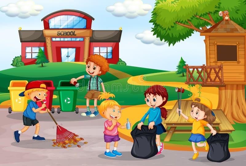 Crianças voluntárias que recolhem o lixo na escola ilustração do vetor