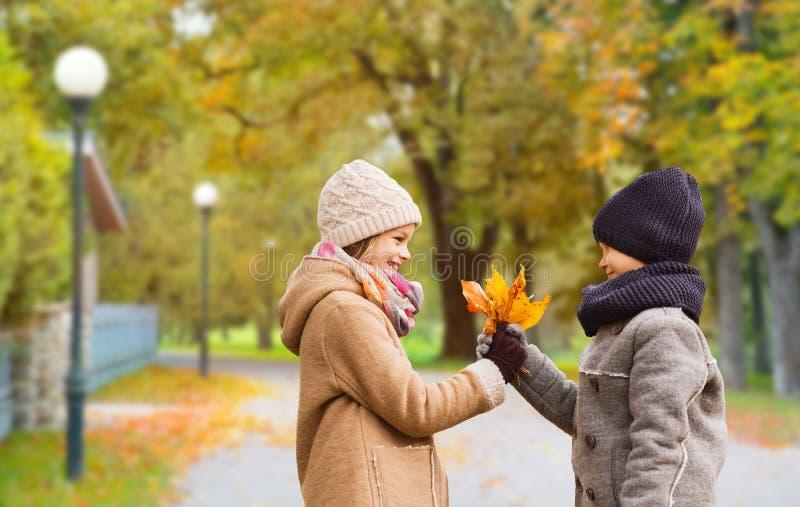 Crian?as de sorriso no parque do outono imagens de stock