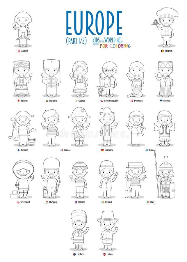 Crian?as e nacionalidades do vetor do mundo: Europa ajustou 1 de 2 Ajuste de 22 caráteres para colorir vestido em trajes nacionai ilustração do vetor