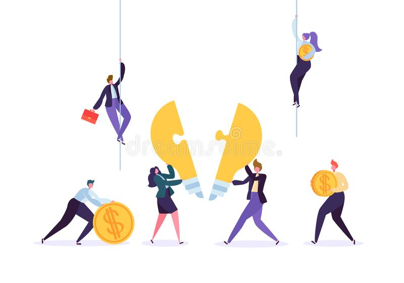 Criando o conceito da inovação do negócio dos trabalhos de equipe da ideia ilustração stock