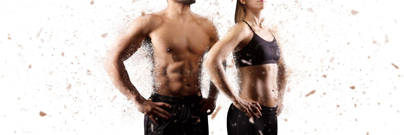 Criando o homem perfeito e o conceito de parte superior do corpo fêmea foto de stock