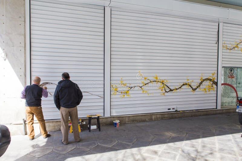 Criar a arte moderna em um rolo da loja levanta fotos de stock royalty free