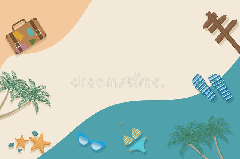 Criative summer layout with beach and travel elements. Colorful background. Summer is coming concept royalty free illustration