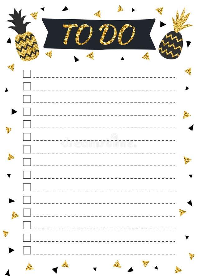 Criativo para fazer a lista com os abacaxis do brilho do ouro no estilo escandinavo ilustração royalty free