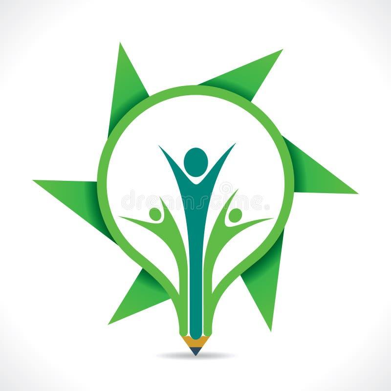 Criativo vai a mensagem verde pelo membro dos desenhos animados no projeto do lápis ilustração stock