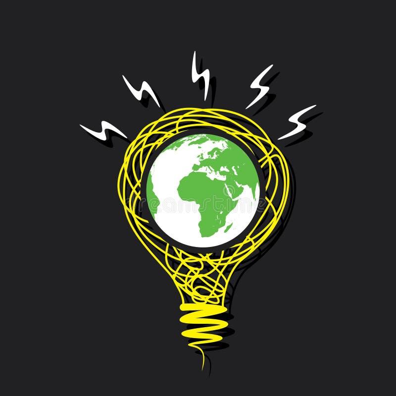 Criativo vai a terra verde no conceito do bulbo do esboço ilustração do vetor